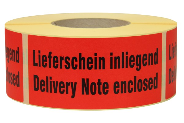 "Warnetiketten aus Papier, rot, ""Delivery Note enclosed"""